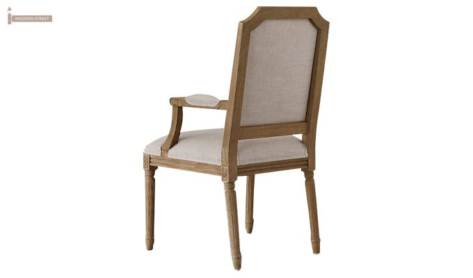Alicia Arm Dining Chair With Fabric (Teak Finish)-4