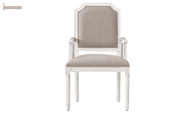 Alicia Arm Dining Chair With Fabric (White Finish)-2