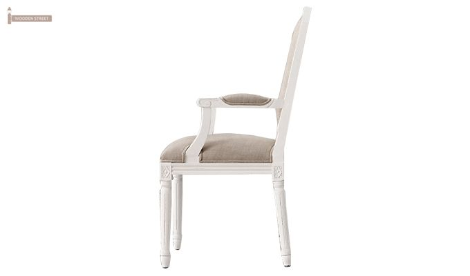 Alicia Arm Dining Chair With Fabric (White Finish)-4