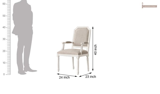 Alicia Arm Dining Chair With Fabric (White Finish)-5