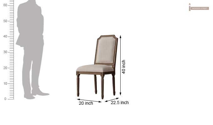Alicia Dining Chair With Fabric (Teak Finish) -5