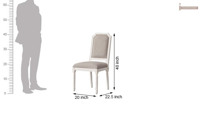 Alicia Dining Chair With Fabric (White Finish)-5