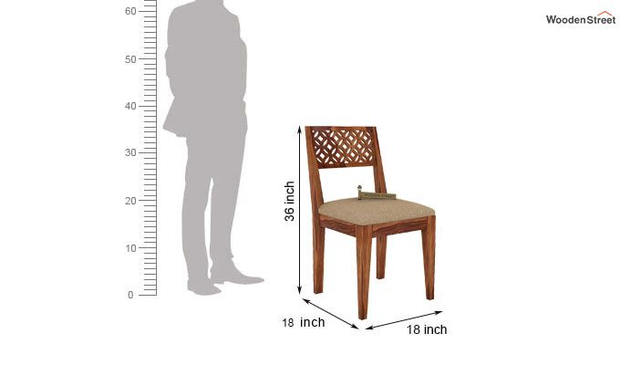 Cambrey Dining Chair With Fabric (Teak Finish)-3