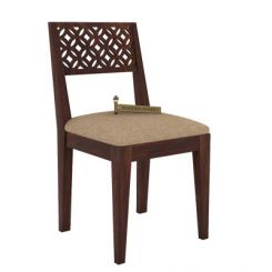 Cambrey Dining Chair With Fabric (Walnut Finish)