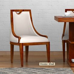 Dane Dining Chair (Honey Finish, Ivory Nude)