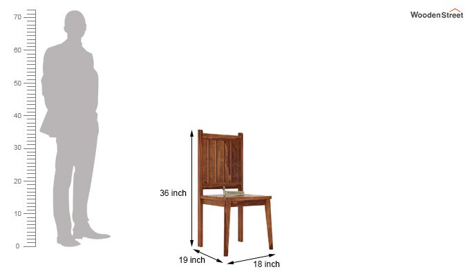 Dawson Dining Chair without Fabric (Teak Finish)-3