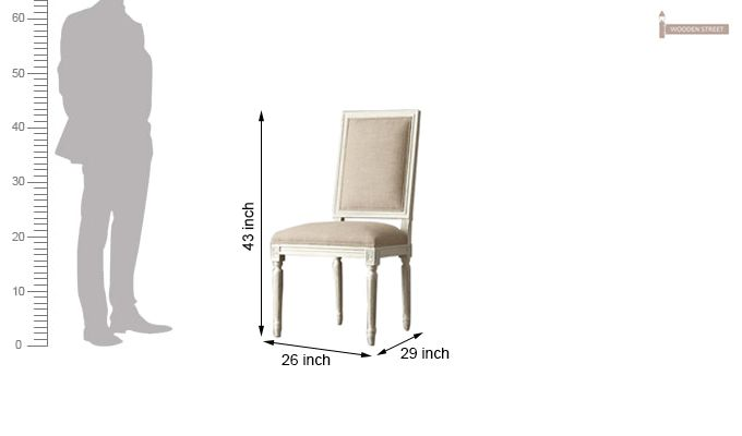 Eclipse Fabric Dining Chair - Set of 2 ( Irish Cream)-5