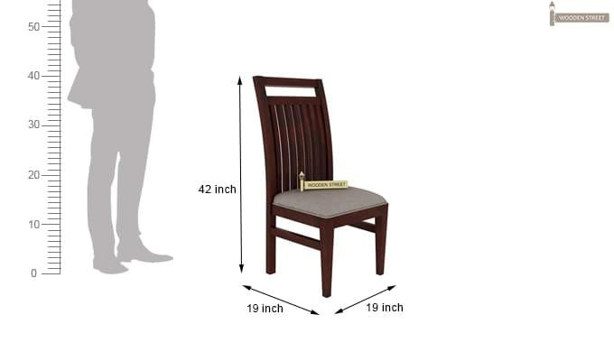 Hasbro Dining Chair With Fabric (Mahogany Finish)-5