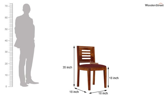 Helina Dining Chair With Fabric (Honey Finish)-3
