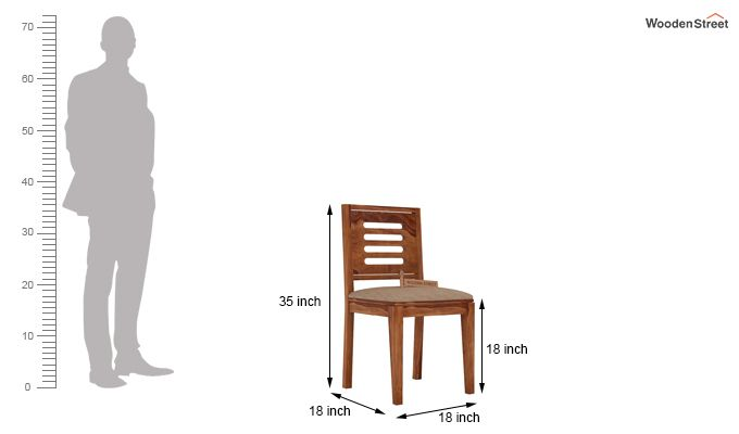 Helina Dining Chair With Fabric (Teak Finish)-3