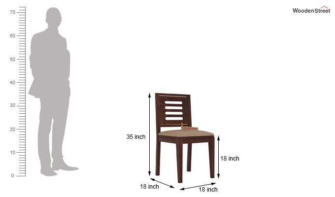 Helina Dining Chair With Fabric (Walnut Finish)-3