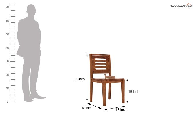 Helina Dining Chair without Fabric (Teak Finish)-3