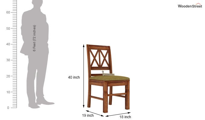 Jessie Dining Chair With Fabric (Teak Finish)-3