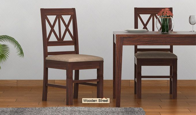 Jessie Dining Chair With Fabric (Walnut Finish)-1