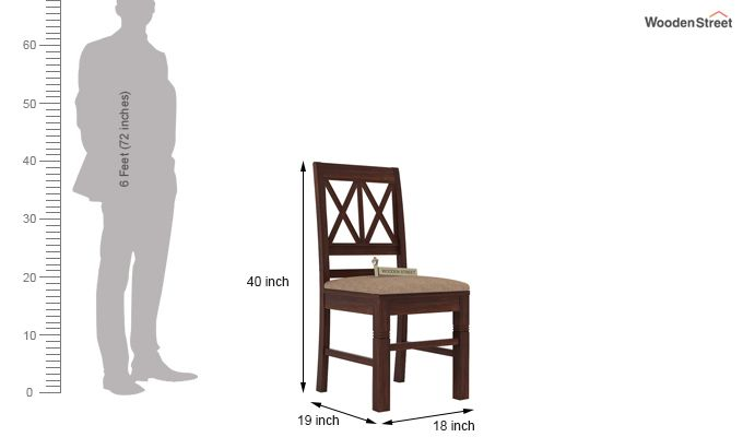 Jessie Dining Chair With Fabric (Walnut Finish)-4