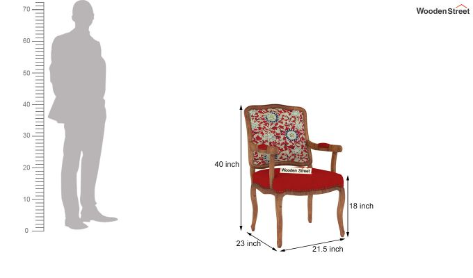 Kelvin Arm Chair Printed Fabric (Scarlet Blue)-4