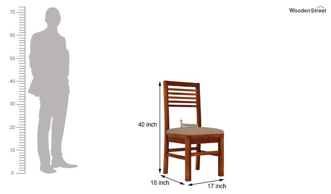 Lavina Dining Chair With Fabric (Honey Finish)-3