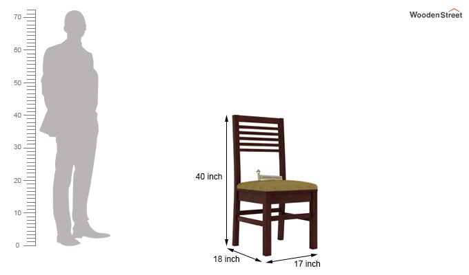 Lavina Dining Chair With Fabric (Mahogany Finish)-3