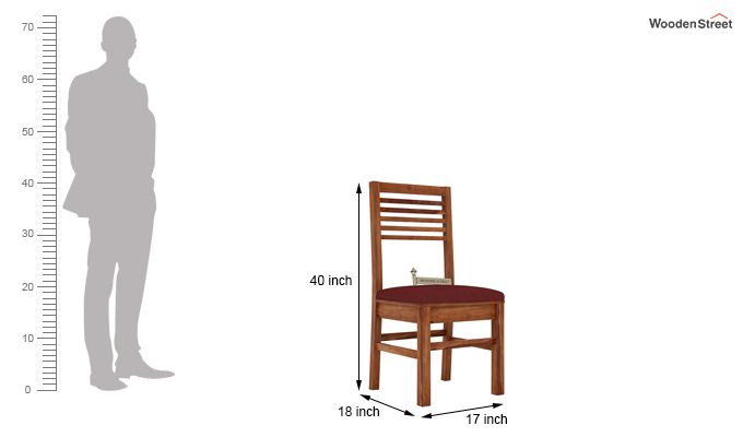 Lavina Dining Chair With Fabric (Teak Finish)-3