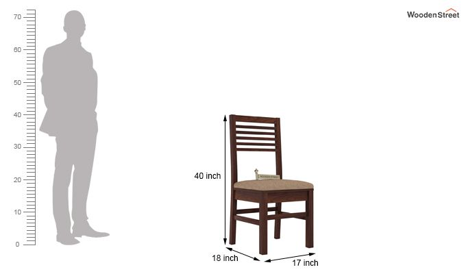 Lavina Dining Chair With Fabric (Walnut Finish)-3