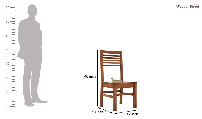 Lavina Dining Chair without Fabric (Teak Finish)-3