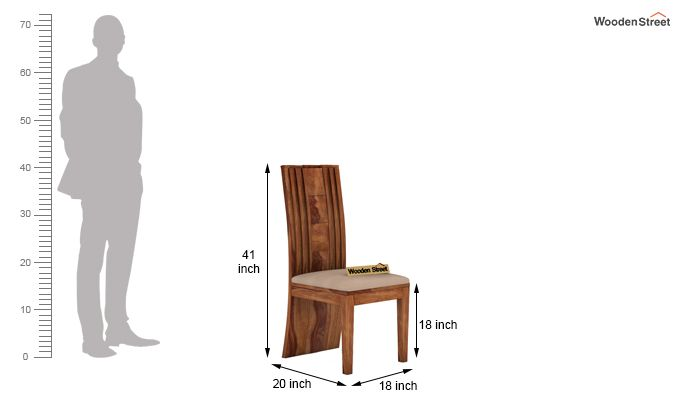 Morse Dining Chair With Fabric (Teak Finish)-4