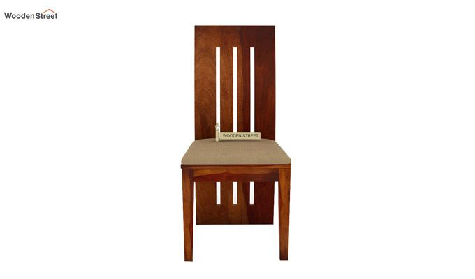 Nancy Fabric Dining Chair (Honey Finish)-2