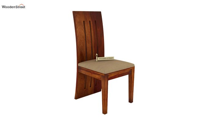 Nancy Fabric Dining Chair (Honey Finish)-1