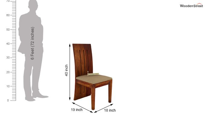 Nancy Fabric Dining Chair (Honey Finish)-3