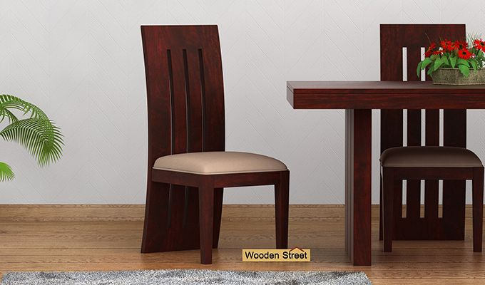 Nancy Fabric Dining Chair (Mahogany Finish)-1