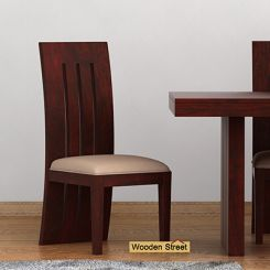 Nancy Fabric Dining Chair (Mahogany Finish)