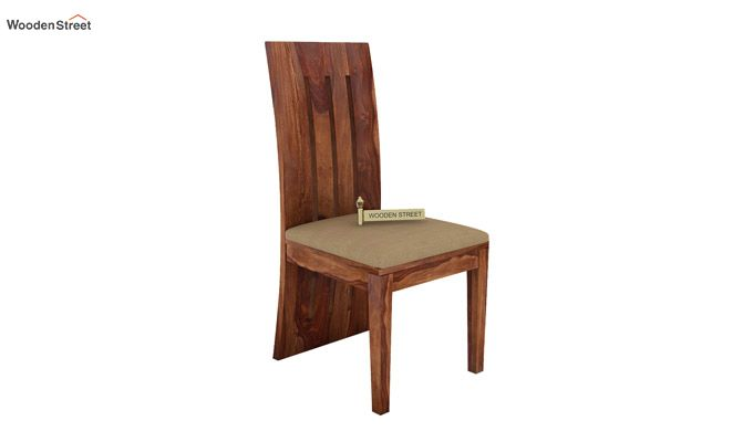 Nancy Fabric Dining Chair (Teak Finish)-1