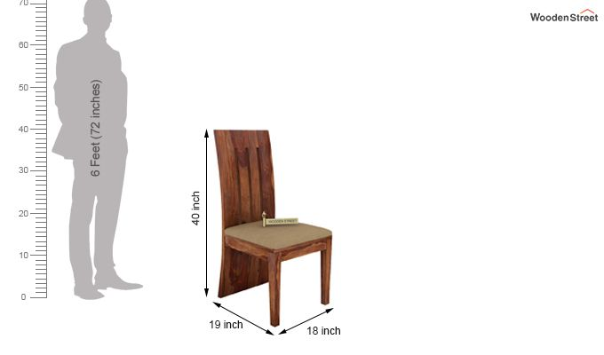 Nancy Fabric Dining Chair (Teak Finish)-3