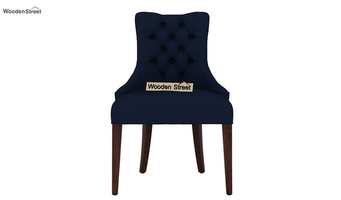 Perry Dining Chair (Walnut Finish, Indigo Ink)-2