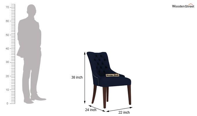 Perry Dining Chair (Walnut Finish, Indigo Ink)-3