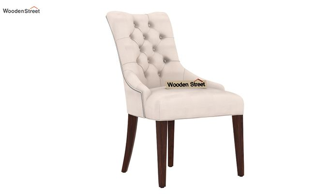 Perry Dining Chair (Walnut Finish, Ivory Nude)-2