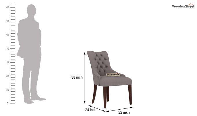 Perry Dining Chair (Walnut Finish, Warm Grey)-3