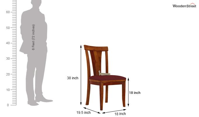 Sofie Dining Chair With Fabric (Honey Finish)-3