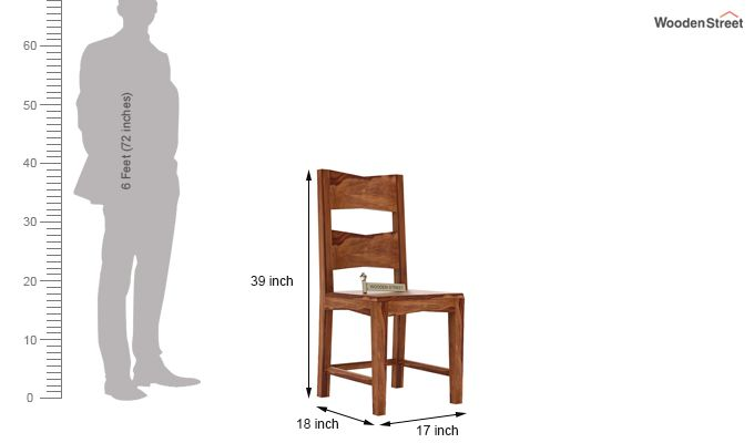 Verina Dining Chair without Fabric (Teak Finish)-3