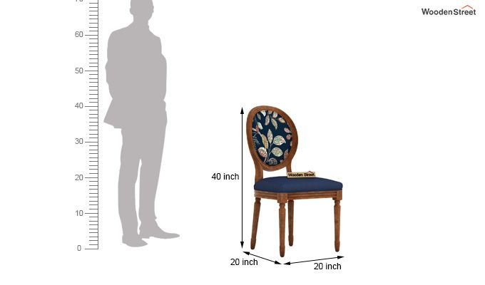 Zen Dining Chair (Indigo Ink, Dusky Leaf)-4