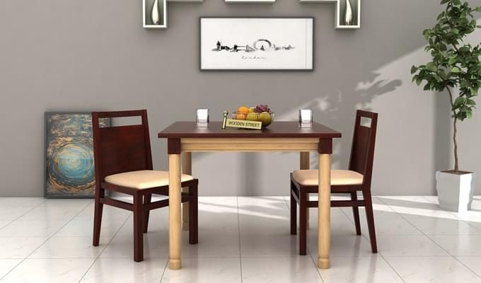 Adriel 2 Seater Dining Set (Mahogany Finish)-1