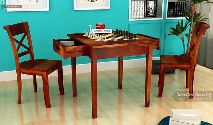 Aldore 2 Seater Dining Table Set (Teak Finish)-1