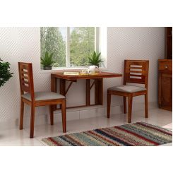 Benz Wall Mount 2 Seater Foldable Dining Set (Honey Finish)