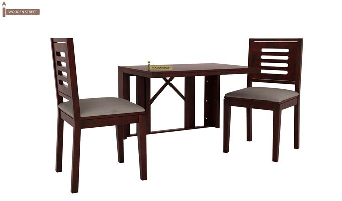 Benz Wall Mount 2 Seater Foldable Dining Set (Mahogany Finish)-1