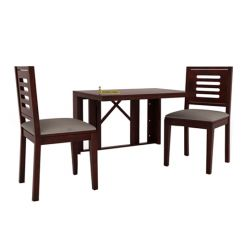 Benz Wall Mount 2 Seater Foldable Dining Set (Mahogany Finish)