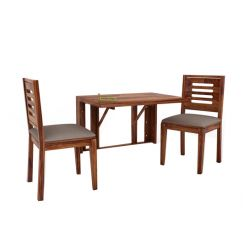 Benz Wall Mount 2 Seater Foldable Dining Set (Teak Finish)