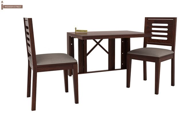 Benz Wall Mount 2 Seater Foldable Dining Set (Walnut Finish)-1