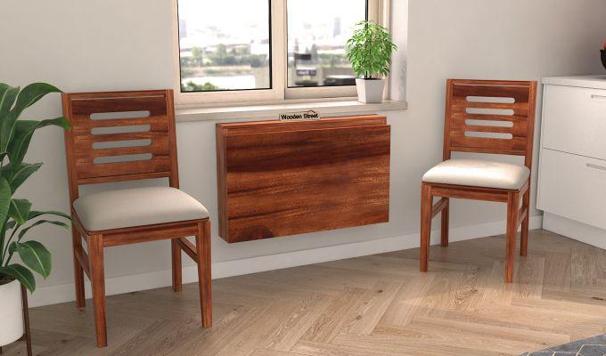 Benz Wall Mount 2 Seater Foldable Dining Set (Honey Finish)-2