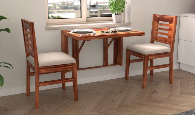 Benz Wall Mount 2 Seater Foldable Dining Set (Honey Finish)-1