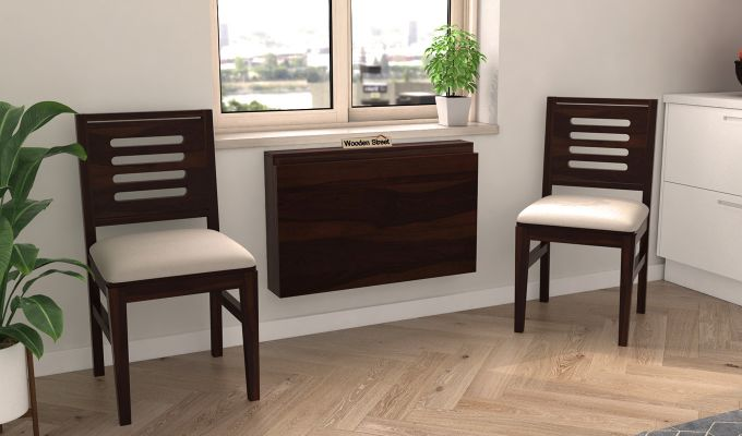 Benz Wall Mount 2 Seater Foldable Dining Set (Walnut Finish)-2